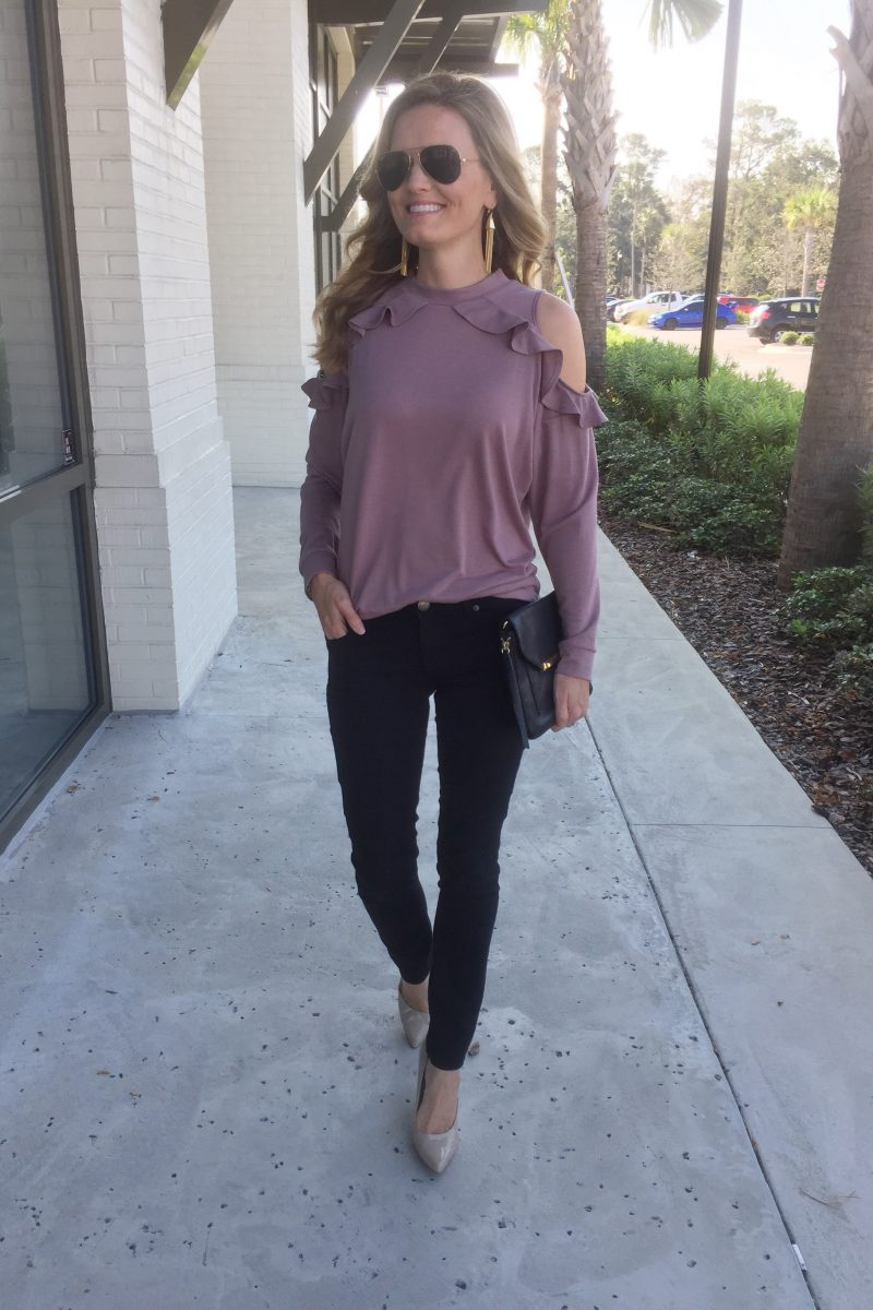 Target – Ruffle Cold Shoulder Sweater