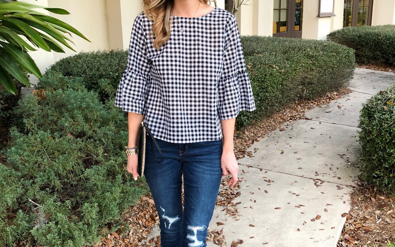 Gingham Top + Favorite Distressed Denim