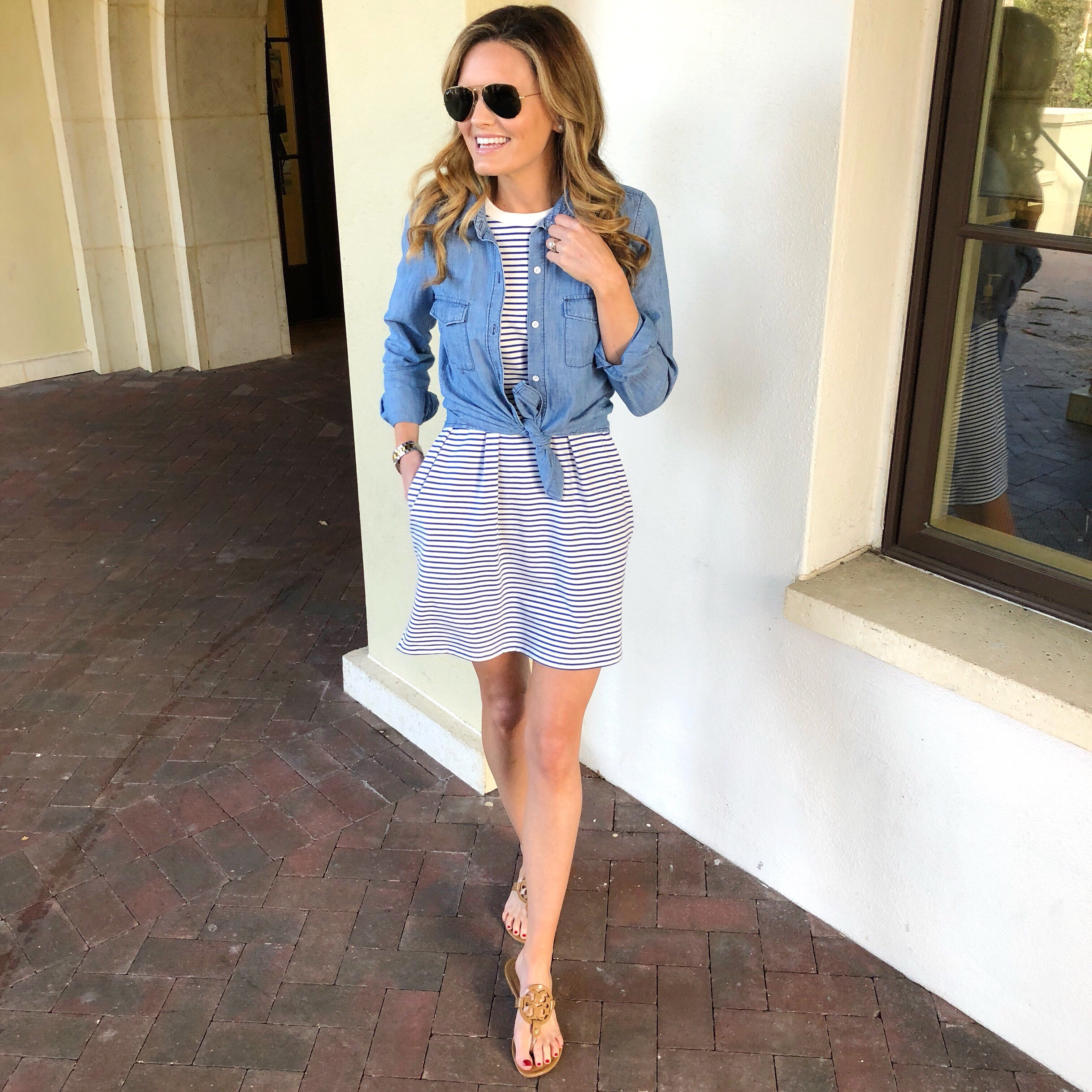 903febad99 Adding a tied chambray top with sandals makes for a fun detail for weekend  wear and finally tying the chambray top around your waist with sneakers is  total ...