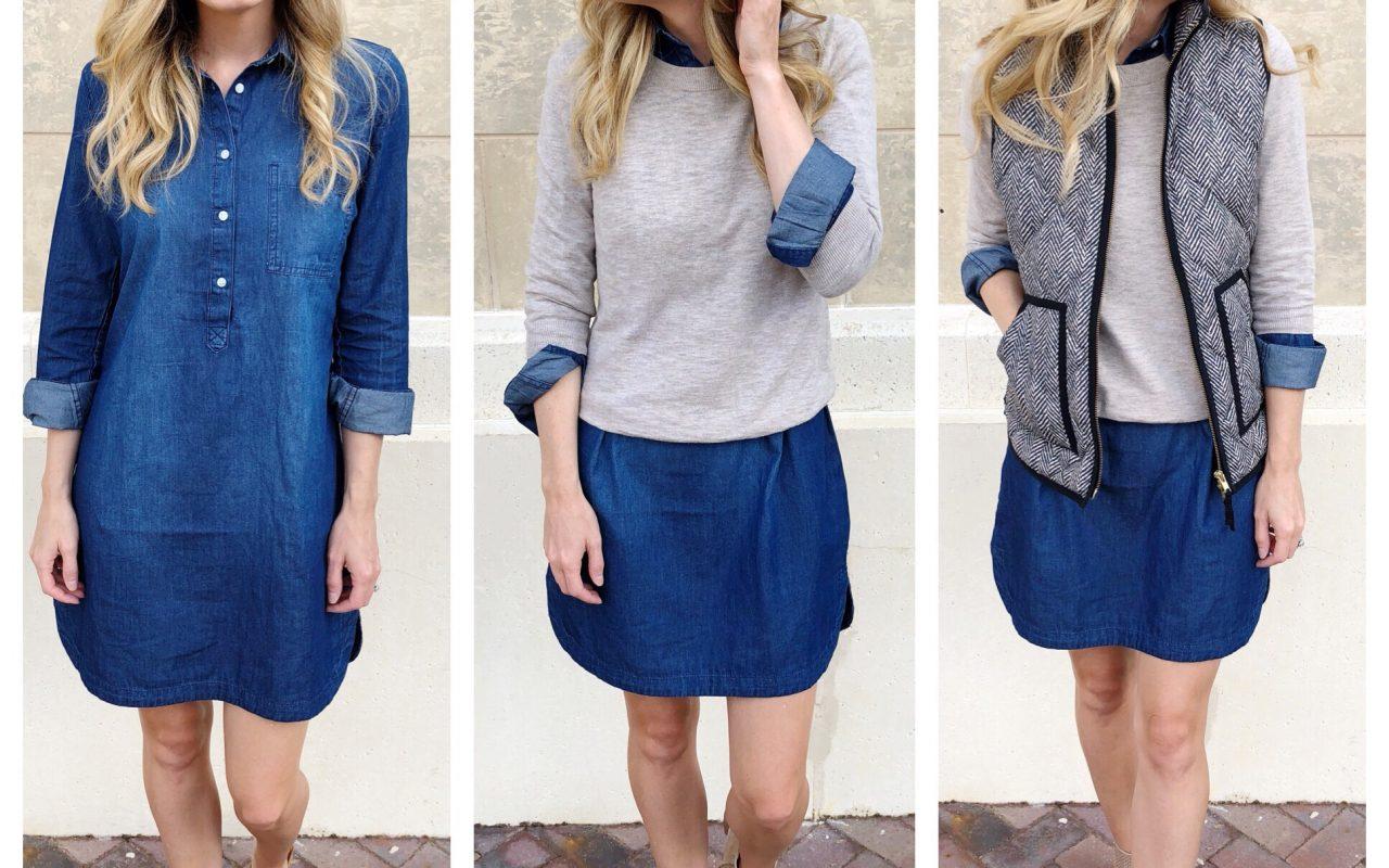 Transitional Chambray Shirt Dress – 3 Ways!