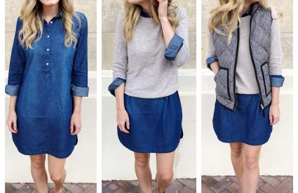 Transitional Chambray Shirt Dress – 3 Ways!