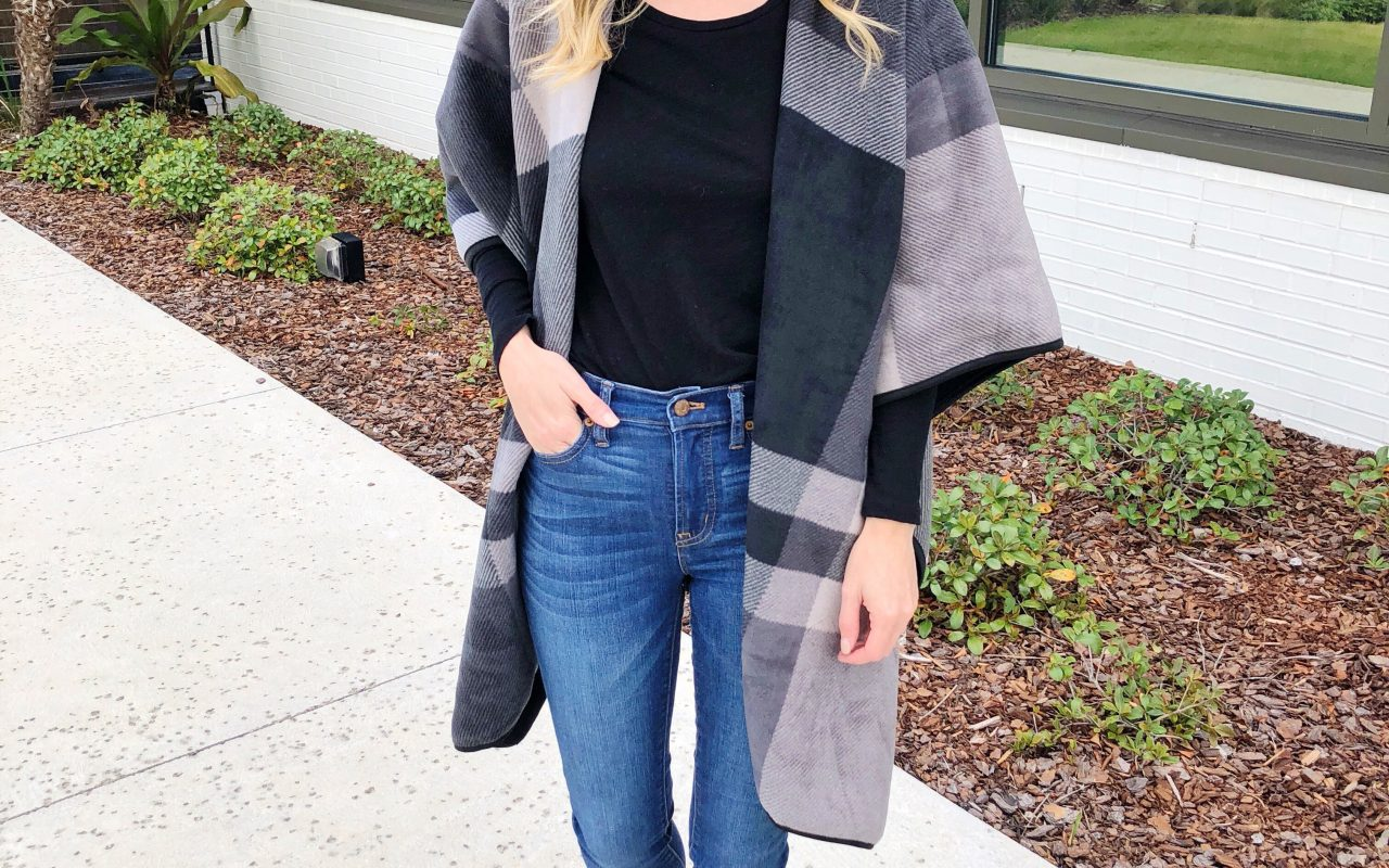 Reversible Plaid Poncho under $35!