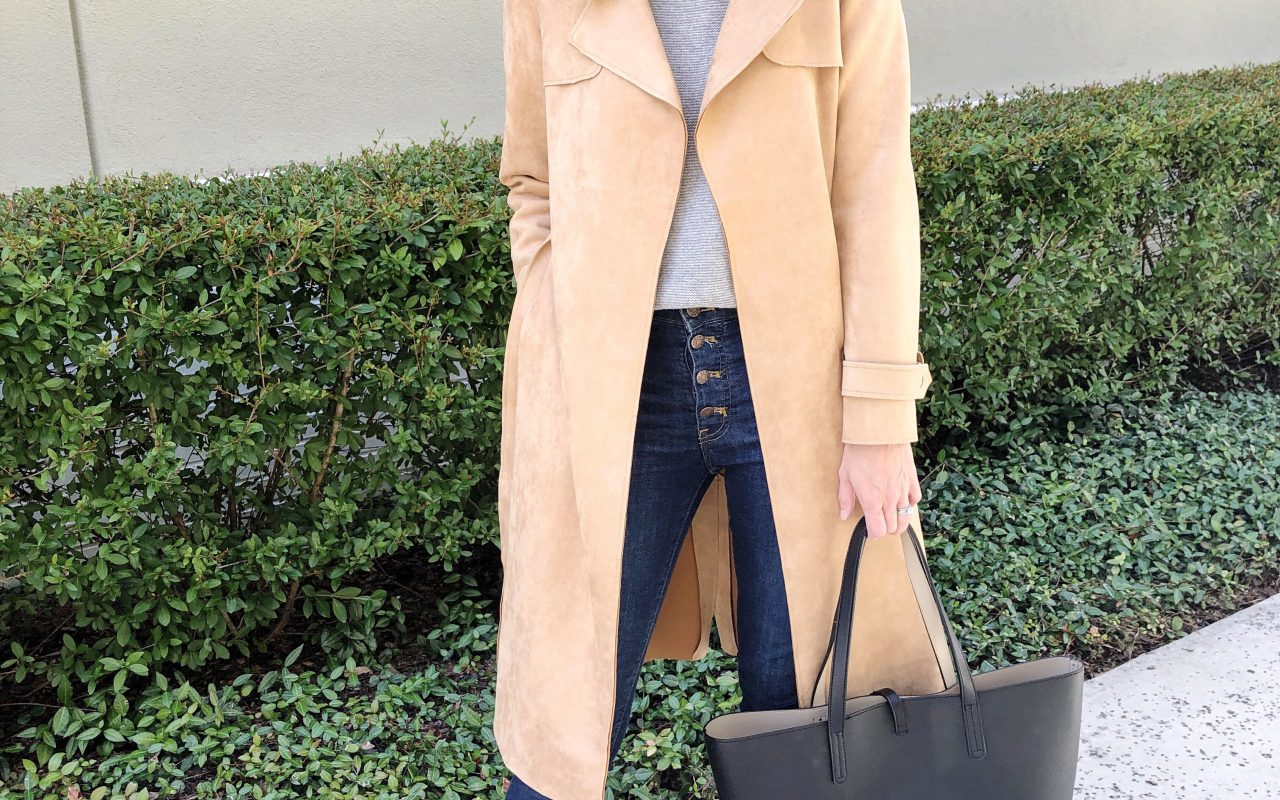 It's Finally Fall | Faux Suede Trench Coat – 2 Ways!